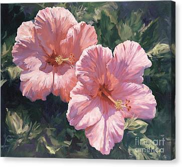Pink Hibiscus Canvas Print by Laurie Hein