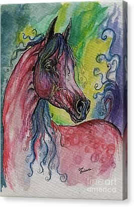 Pink Horse With Blue Mane Canvas Print by Angel  Tarantella