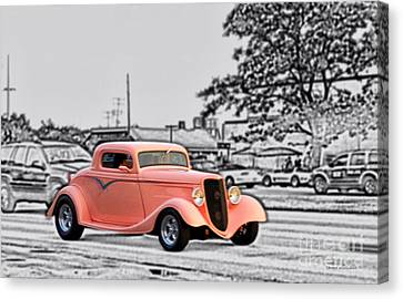 Pink Hot Rod Cruising Woodward Avenue Dream Cruise Selective Coloring Black And White Canvas Print by Thomas Woolworth