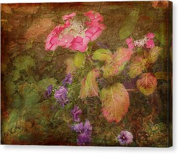 Pink Hydrangea And Purple Pansies Canvas Print by Bellesouth Studio