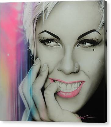 Alecia Moore - ' Pink I I ' Canvas Print by Christian Chapman Art