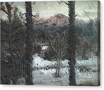 Canvas Print featuring the painting Snow - Pink Mountain - Blueridge Mountains by Jan Dappen