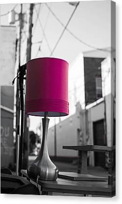 Pink Lamp In The Trash Canvas Print