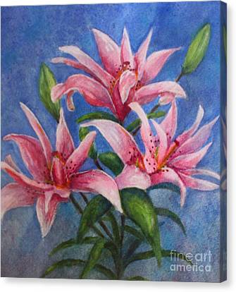 Pink Lilies Canvas Print by Terri Maddin-Miller