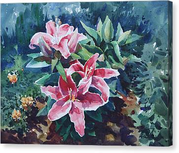 Canvas Print featuring the painting Pink Lilly by Helal Uddin