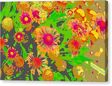 Canvas Print featuring the photograph Pink Orange Flowers by Suzanne Powers