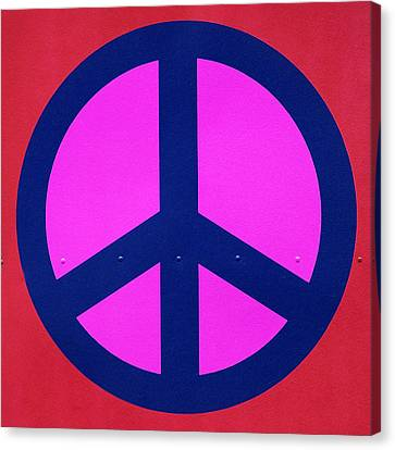 Counter-culture Canvas Print - Pink Peace Symbol by Art Block Collections