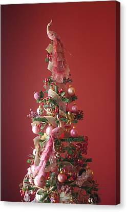 Canvas Print featuring the photograph Pink Peacock Christmas Tree by Suzanne Powers