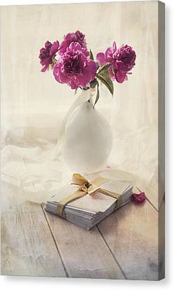 Pink Peonies And Pile Of Letters On The Wooden Table Canvas Print by Jaroslaw Blaminsky
