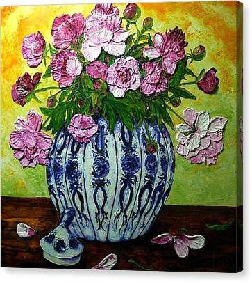 Pink Peonies In A Vase Canvas Print by Paris Wyatt Llanso