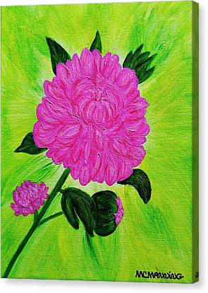 Pink Peony Canvas Print by Celeste Manning