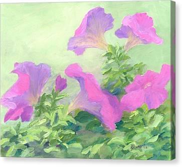 Pink Petunias Beautiful Flowers Art Colorful Original Garden Floral Flower Artist K. Joann Russell  Canvas Print