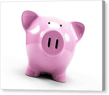 Piggy Bank Canvas Print - Pink Piggy Bank by Sebastian Kaulitzki