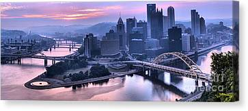 Pink Pittsburgh Morning Canvas Print