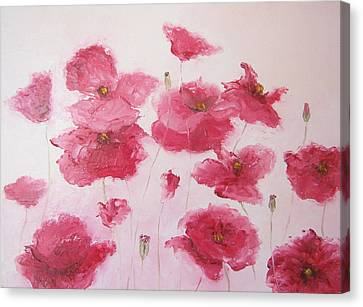 Pink Poppies By Jan Matson Canvas Print by Jan Matson