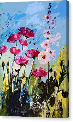 Pink Poppies Hollyhock And Bees Canvas Print by Ginette Callaway