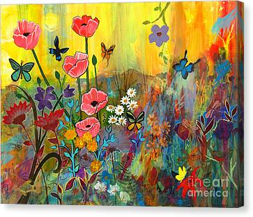 Canvas Print featuring the painting Pink Poppies In Paradise by Robin Maria Pedrero