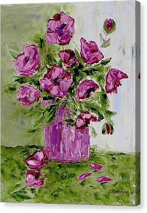 Pink Poppies In Pink Vase Canvas Print