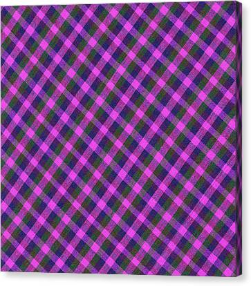 Pink Purple And Green Diagonal Plaid Textile Background Canvas Print by Keith Webber Jr
