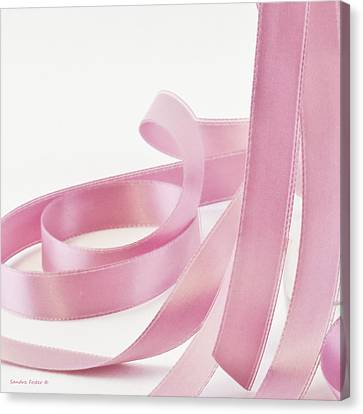 Pink Ribbon Canvas Print by Sandra Foster