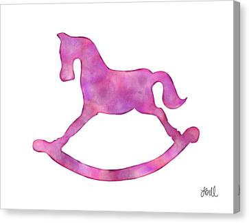 Canvas Print featuring the painting Pink Rocking Horse by Laura Bell