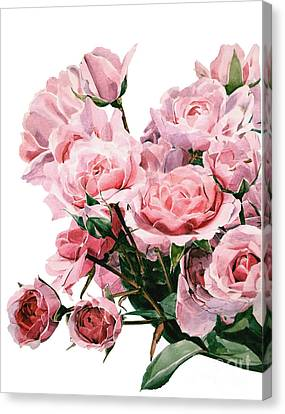 Pink Rose Bouquet Canvas Print by Greta Corens