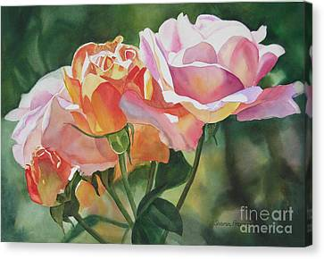 Peaches Canvas Print - Pink Rose Buds And Blossoms by Sharon Freeman