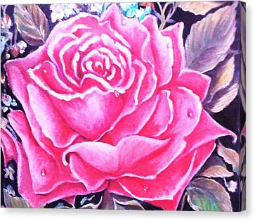 Canvas Print featuring the painting Pink Rose by Yolanda Rodriguez