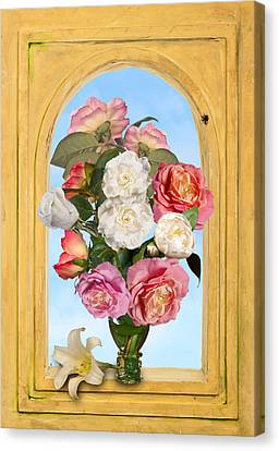Pink Roses And White Peonis In Roemer In Open Niche Canvas Print by Levin Rodriguez