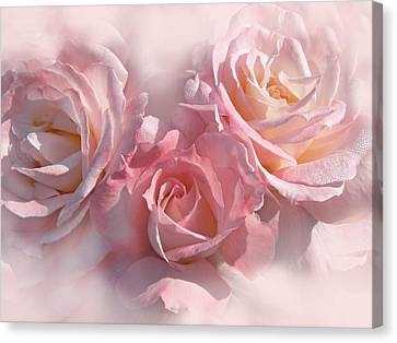 Pink Roses In The Mist Canvas Print by Jennie Marie Schell
