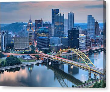 Pink Skies And Pittsburgh Skyscrapers Canvas Print by Adam Jewell