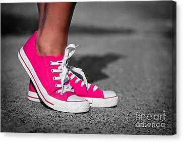 Pink Sneakers  Canvas Print by Michal Bednarek