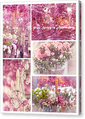 Pink Spring In Amsterdam. Flower Market Canvas Print by Jenny Rainbow