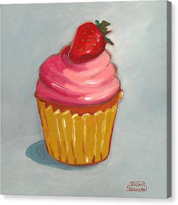Canvas Print featuring the painting Pink Strawberry Cupcake by Susan Thomas