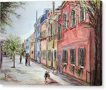 Canvas Print featuring the painting Pink Street by Becky Kim