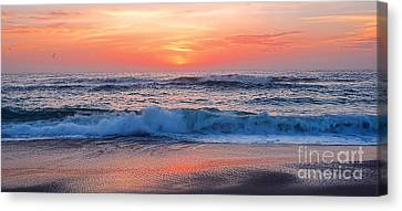 Pink Sunrise Panorama Canvas Print by Kaye Menner
