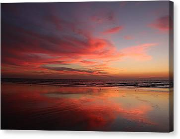 Ocean Sunset Reflected  Canvas Print