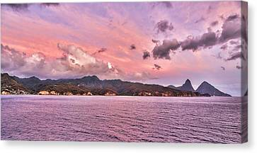 Pink Sunset Cast On The Pitons In St. Lucia Canvas Print
