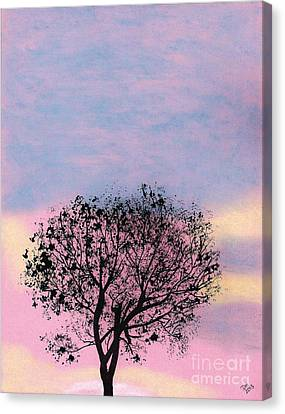 Canvas Print featuring the drawing Pink Sunset by D Hackett