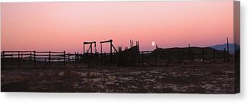 Pink Sunset Over Corral Canvas Print by Cathy Anderson