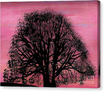 Canvas Print featuring the drawing Pink Sunset Tree by D Hackett