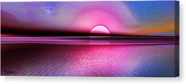Canvas Print featuring the digital art Pink Sunset by Tyler Robbins