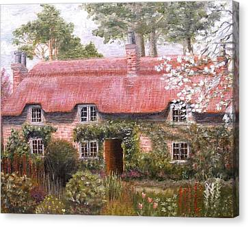 Pink Thatched Cottage Canvas Print by Diane Daigle