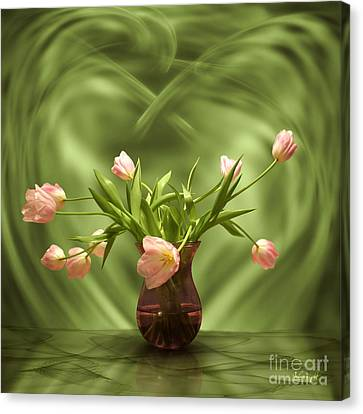 Pink Tulips In Green Room Canvas Print