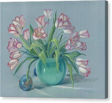 Canvas Print featuring the painting Pink Tulips In Green Vase by Dan Redmon