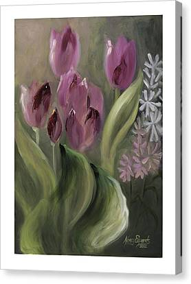 Pink Tulips Canvas Print by Nancy Edwards