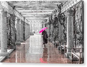 Pink Umbrella In A Storm Canvas Print by Susan Cole Kelly Impressions