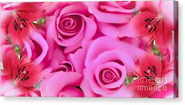 Canvas Print featuring the painting Pink Upon Pink by Catherine Lott