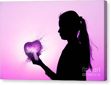 Pink Water Heart Canvas Print by Tim Gainey