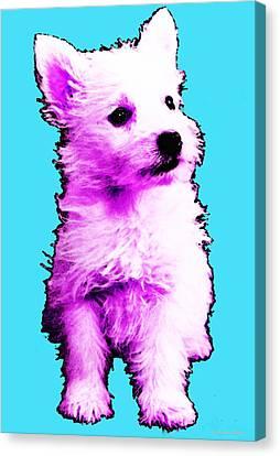 Westie Canvas Print - Pink Westie - West Highland Terrier Art By Sharon Cummings by Sharon Cummings